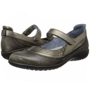 NAOT Kirei Pewter Leather Mary Janes - Size 39/8